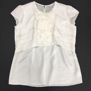 CAbi Tops - CAbi White Silk Ruffle Cap Sleeve Blouse