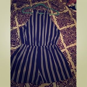 one clothing Pants - Stripped navy blue romper