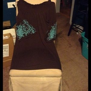 Free People Dresses & Skirts - BROWN/TURQUOISE EMBROIDERED  BELL SLEEVES LOWEST!!