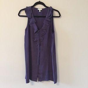 Joie Deep Blue Silk Dress with Ruffles
