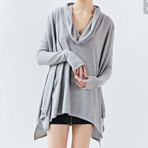 silence + noise Tops - Silence + Noise Cowl Neck Grey Sweater