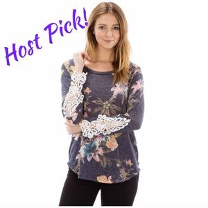 Tops - Super Cute Floral Lace Detail Top