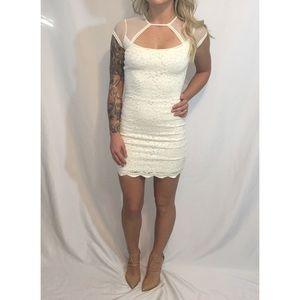 White Lace Silence + Noise Cutout Dress