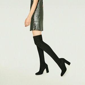 Zara Over the Knee Stretch High heel boots 6.5
