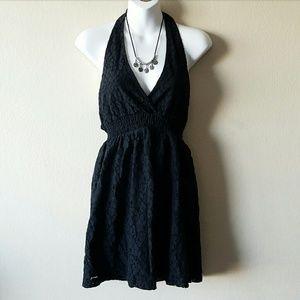 Wet Seal Black Floral Lace Halter Dress