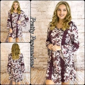 Pretty Persuasions Dresses & Skirts - NWT Floral Wine & Lace Bell Sleeve Shift Dress