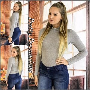 Pretty Persuasions Tops - NWT Gray Long Sleeve Mock Neck Jersey Bodysuit