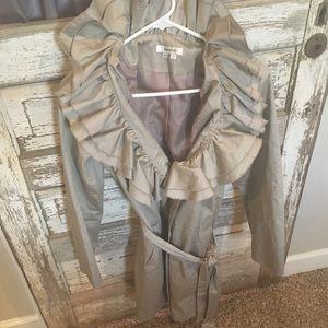 Ruffle trench coat
