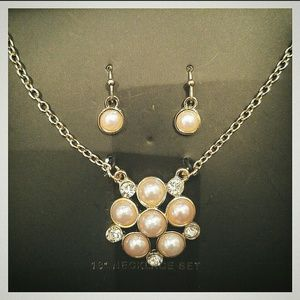 Jewelry - Pink Pearl & Crystal Cluster Necklace & Earrings