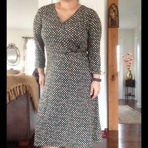Connected Apparel  Dresses & Skirts - Built-in Belt Sash Polka Dot Dress