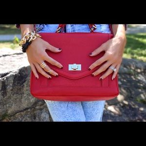 Red Faux Leather Satchel Bag