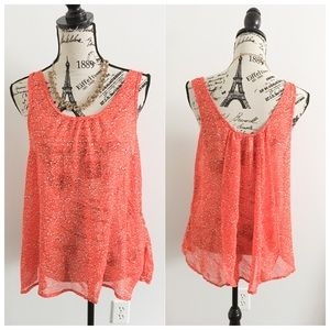 DNA Couture Tops - Orange White + Black Sheer Floral Tank