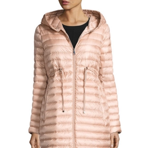 Moncler Hooded Barbel Coat in Blush Pink