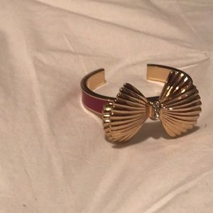 Lilly Pulitzer pink and gold bow bangle bracelet