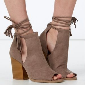 Shoes - Lace-up taupe booties