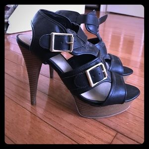 Black high heel sandals