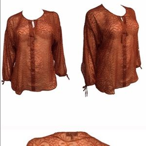 Sparkly sheer peasant top