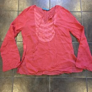 Johnny Was Tops - JOHNNY WAS Peachy Pink Flowy Boho Tunic