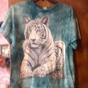 Teal green/ white tiger T-shirt