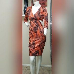 Mustard Seed Dresses & Skirts - Mustard Seed orange snake print cutout dress