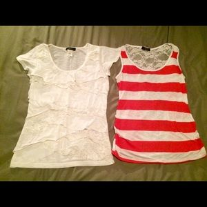 Deb Tops - LOT OF 2 size small cute spring tops. White lace