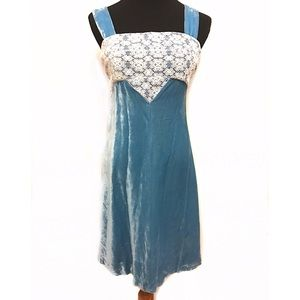 Vintage baby blue velvet cocktail dress