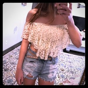 Ivory lace crop top from urban outfitters