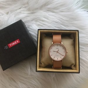 Tan and rose gold Timex leather watch