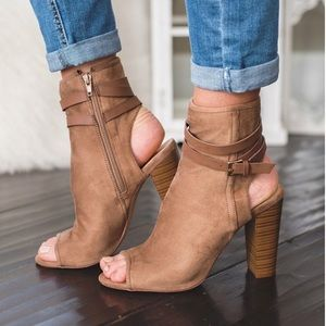 Taupe Buckle Strap Exposed Back Chunky heel bootie