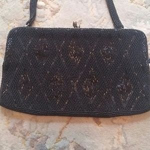 Beaded vintage purse black with beaded handle