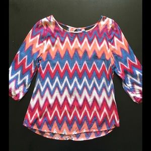 Copper Key Tops - Colorful Chevron Top with Cut-Out Detail
