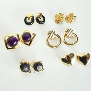 VINTAGE POST-BACK EARRINGS SET OF SIX (6)
