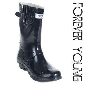 Women Mid Calf Rain Boots, #1502, Black