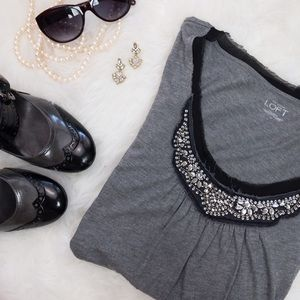 LOFT • Gray & Black Embellished Long Sleeve Tee