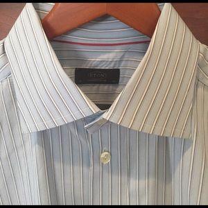 Eton Other - Eton Sweden blue striped dress shirt 17 43