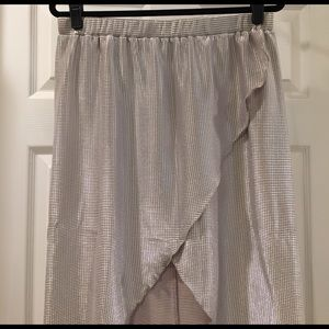 River Island Metallic Silver High-Low Skirt
