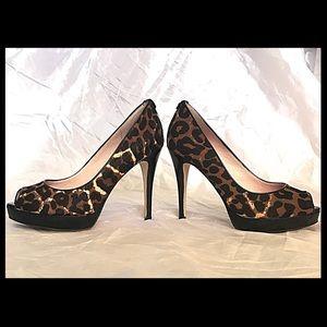 Michael Kors Shoes - Michael Kors Faux Fur Animal Print Platform Heels