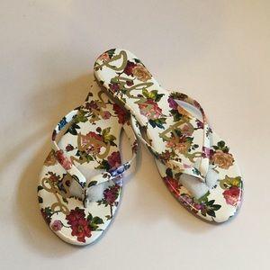 Giselle White Floral Flip Flops