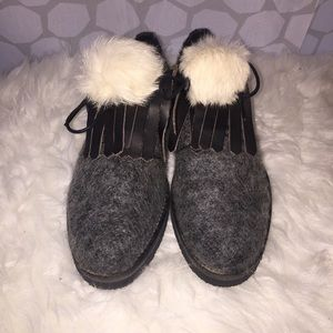 Miista Shoes - BNIB Miista Paisley in Grey with white Pom Size 8