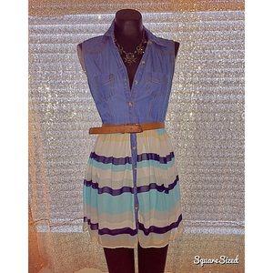 Dresses & Skirts - Flirty denim top dress with Slater skirt bottom!