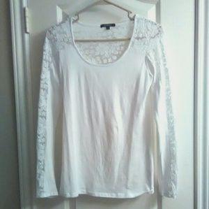 Ambiance Apparel Tops - Lace insert long sleeve shirt SZ LG