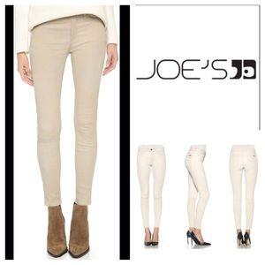 Joe's Jeans beige leather skinny ankle pants