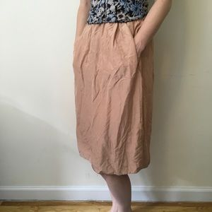 Aritzia Dresses & Skirts - Wilfred Aritzia Tan Silk Midi Skirt