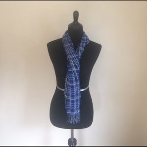Vintage blue and white plaid scarf with fringe