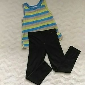 Lipstick Boutique Other - Girls outfit.. Stripe top with Jean color leggings
