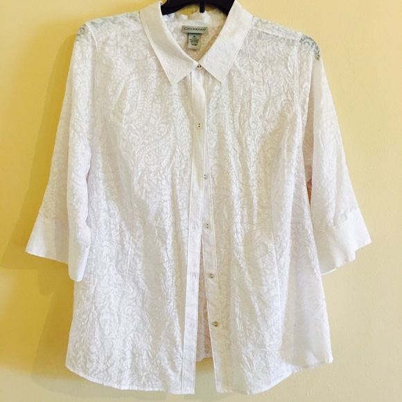 dfde50da3 Catherines Tops | Plus Size White Sheer Button Down Blouse | Poshmark