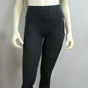 Pants - Charcoal gray black mesh yoga workout leggings