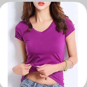 Boutique Tops - NWT Cute Fitted Purple V Neck T-Shirt