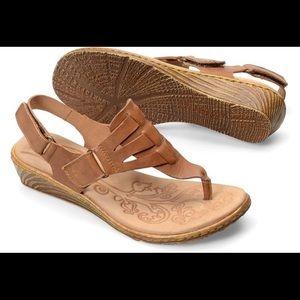 Born Karis Leather Wedge Thong Sandal Tan