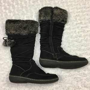 American Eagle by Payless Shoes - Black Zip up Boots w/ Faux Fur Trim & Pom Poms
